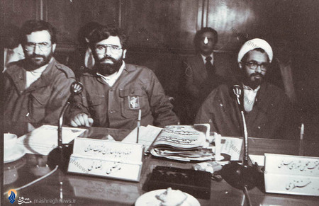 جلسه شورای عالی دفاع، محمد منتظری در کنار کمال خرازی و مرتضی رضایی